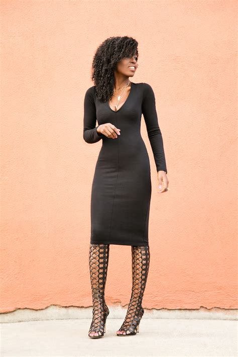 style pantry black midi dress knee high boots