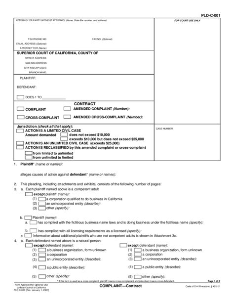 code of civil procedure section 382 pld c 001 complaint contract free download