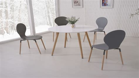 White Dining Table And 4 Grey Chairs Homegenies White Chairs For Dining Table