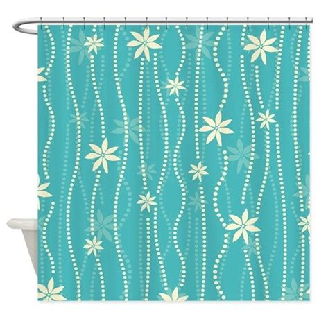 turquoise striped curtains turquoise dot floral stripe shower curtain by pinkinkart