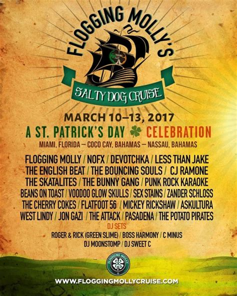 s day cruise 2017 flogging molly announce 2017 st patrick s day cruise with