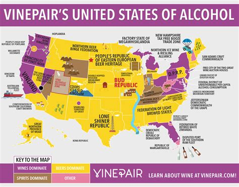 united steaks of america map if each state could have only one the united states of alcohol map