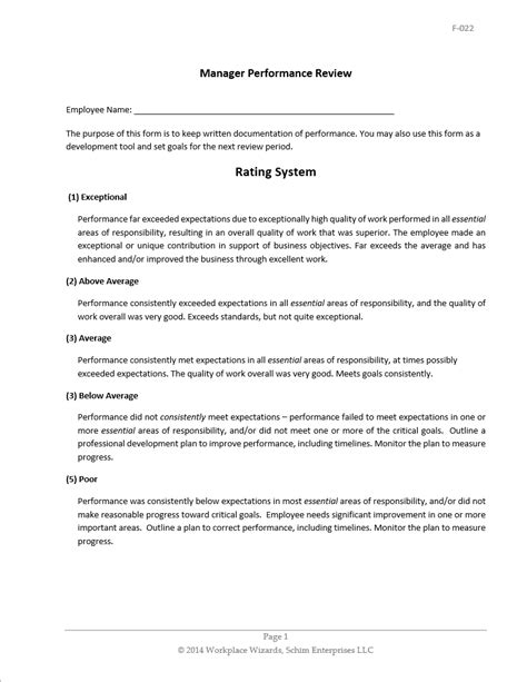 Performance Review Manager Performance Review Template Restaurant Manager Performance Review Template