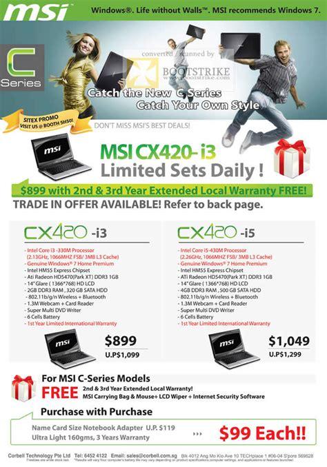 Casing Msi Cx 420 corbell msi notebooks c series cx420 i3 i5 sitex 2010 price list brochure flyer image