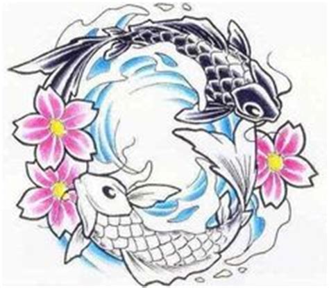 ying yang in koi fish style dejavu tattoo studio for justin but without the flowers koi fish yin and yang