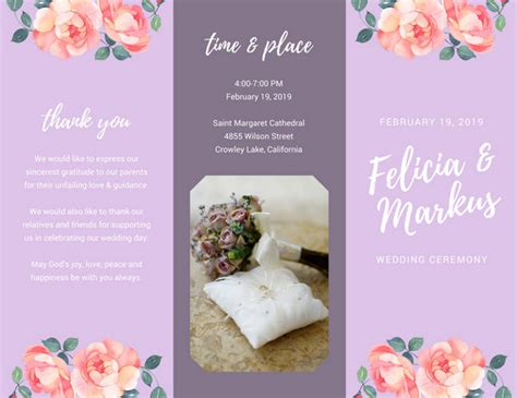 Wedding Flowers Brochure by Pink Flower Field Wedding Planner Brochure Templates By