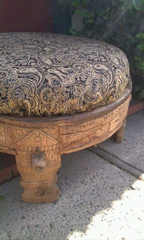 indian ottoman antique indian chakki table ottoman primitive beautiful