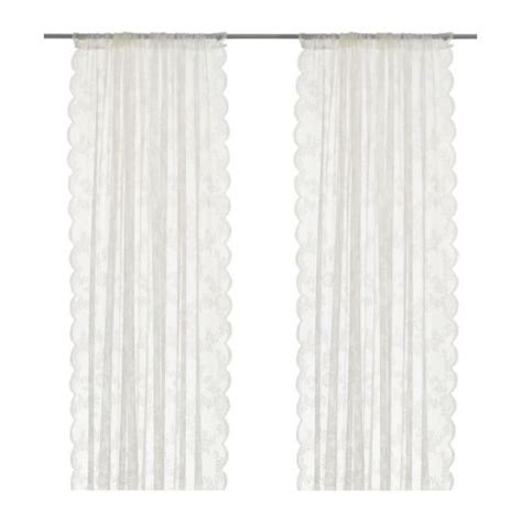 White Curtains Ikea Alvine Spets Lace Curtains 1 Pair Ikea