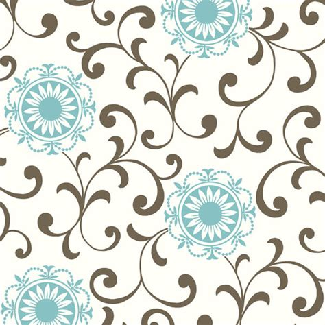 Border Sticker Blue And Brown Line blue and brown medallion with scroll wallpaper