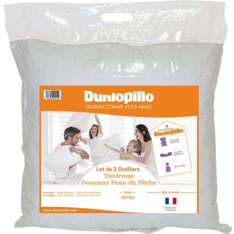 oreillers dunlopillo lot de 2 oreillers polyester tendresse dunlopillo pas cher