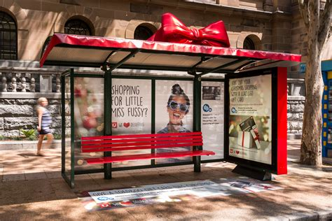 adshel bus shelters gift wrapped  australia posts load