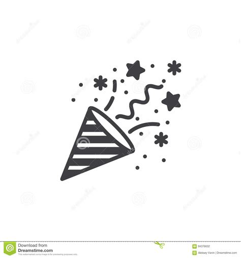 confetti popper icon vector filled flat sign solid