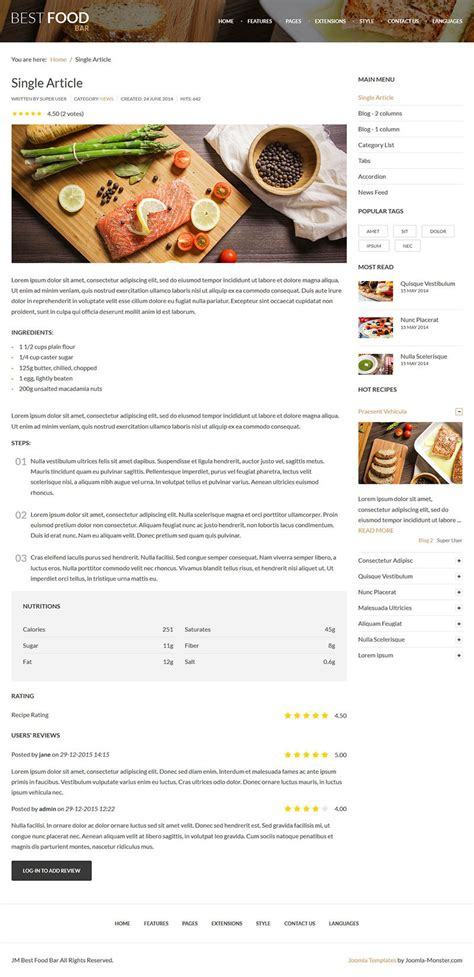 Jm Best Food Bar Restaurant And Food Joomla Template By Joomla Monster Best Food Templates