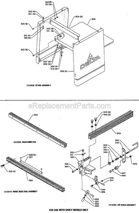 table saw replacement parts delta 34 670 parts list and diagram type 1