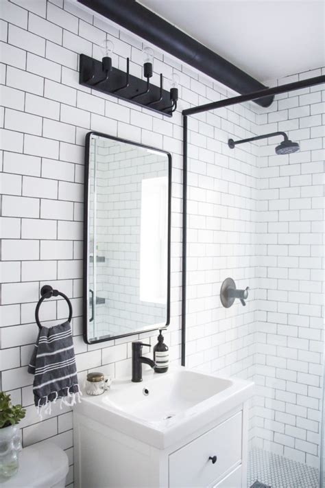 Modern Bathroom Black And White by A Modern Meets Traditional Black And White Bathroom