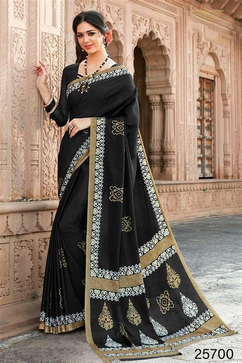 black casual wear simple printed daily wear crepe saree
