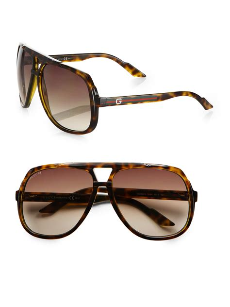 Aviator Sunglasses lyst gucci plastic aviator sunglasses in brown for