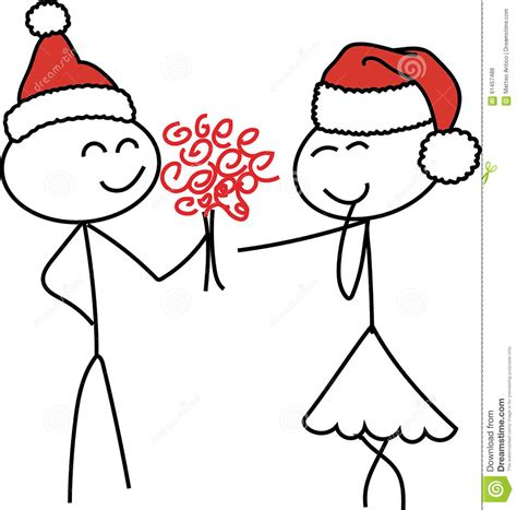 stick figure love christmas stock illustration image