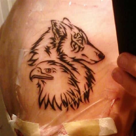 My Tattoo On My Left Shoulder Wolf For Me And Eagle For Eagle And Wolf Tattoos 2