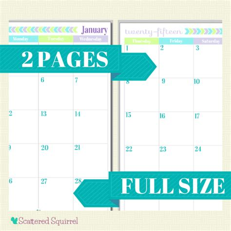 free printable monthly planner pages 2015 6 best images of 2 month per page full size calendar