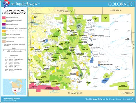 colorado in usa map map of colorado map federal lands and indian reservations