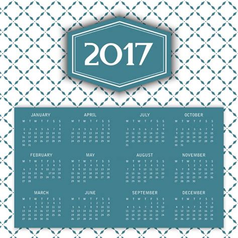 2017 calendar with a pattern vector free