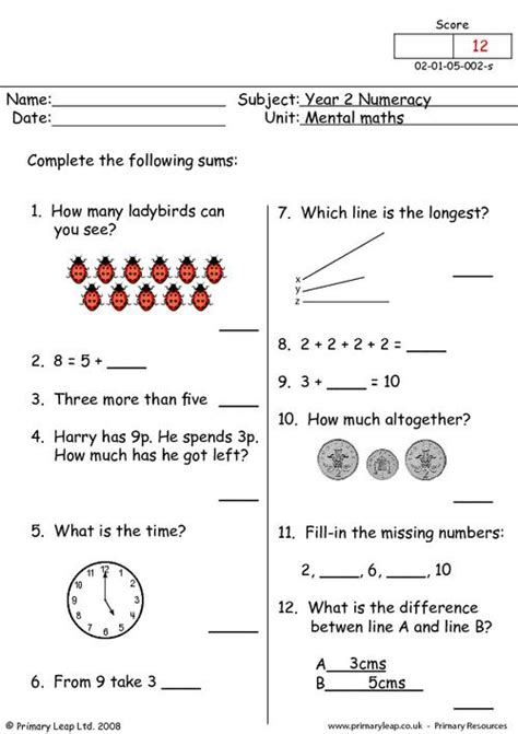 2 Year Worksheets by Mental Maths 2 Primaryleap Co Uk