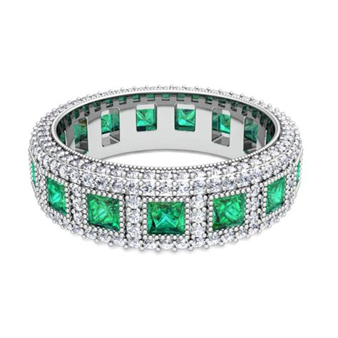 my princess cut and emerald eternity band in