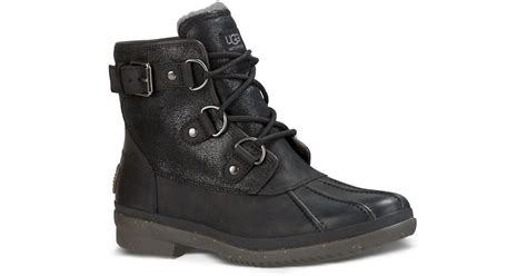 ugg cecile faux fur lined leather duck boots in black