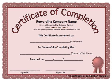 word template certificate of completion 13 certificate of completion templates excel pdf formats