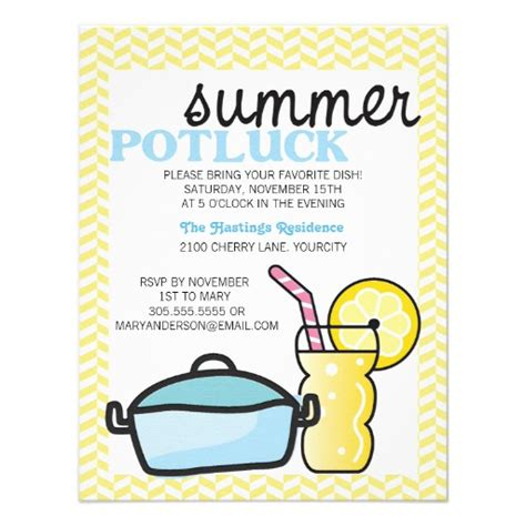 potluck invitation template bright summer potluck 4 25 quot x 5 5 quot invitation card zazzle