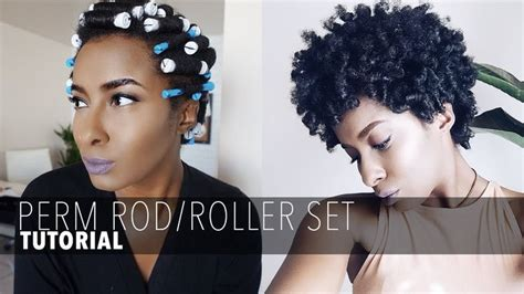 show short perm rods styles with colored hair perm rod roller set on short natural hair youtube