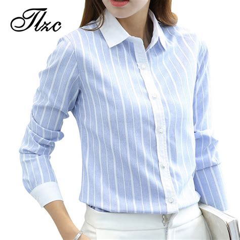 Tromphy Blouse Fit S To Xl tlzc office fashion striped shirts sleeve clothing size s xl color blue pink