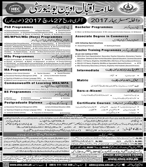 Late Application For Mba by Aiou Admission Notice 2017 Last Date To Apply 27