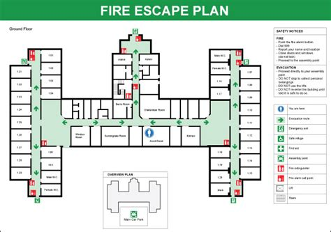 fire evacuation floor plan notes good color hue coding includes safety notices and