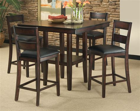 Dining Room Set High Tables 5 Counter Height Dining Room Set Table Chair Dinette Furniture Rustic New Ebay