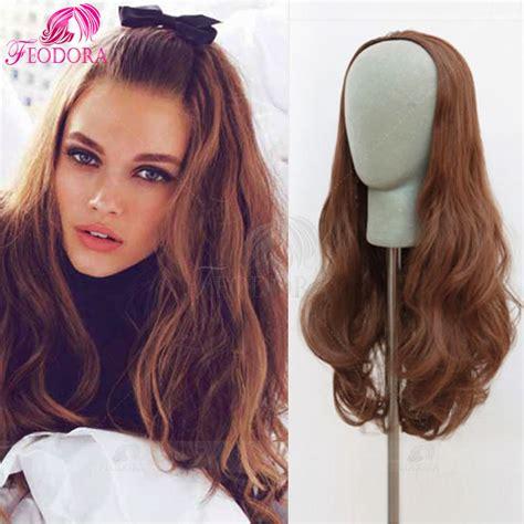 Half Wig Wavy human hair half wig no lace wig wavy 3 4 wig cap 30 color
