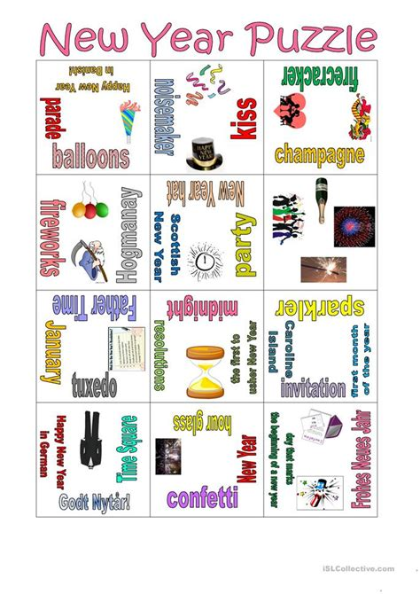 new year puzzles worksheets puzzle new year