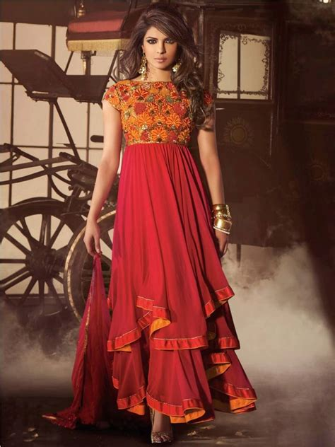 boat neck anarkalis buy hot red orange resham and zari work with boat neck