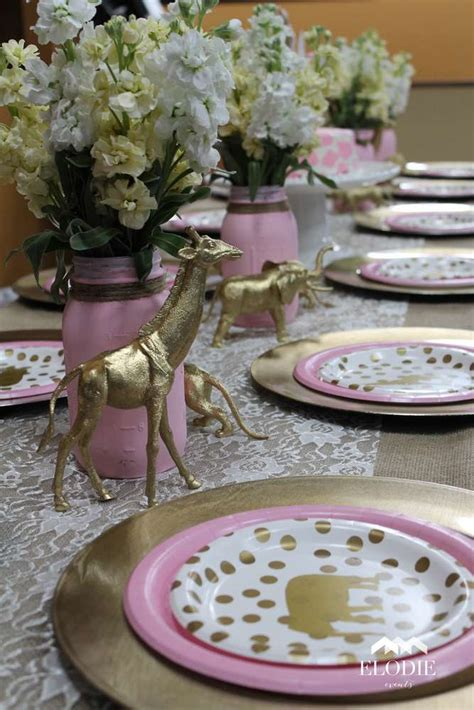 juna s baby shower table setting theme pink tan white and elephants shower ideas best 25 pink and gold safari party ideas on pinterest