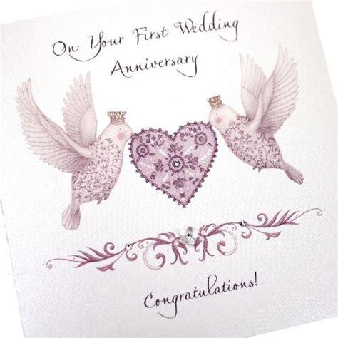 handmade anniversary card 1st flutter birds purple crystals lovebirds on your