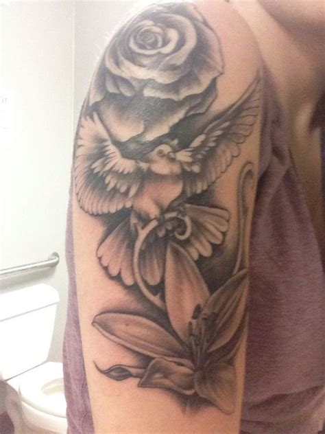 lily and rose tattoo 35 dove tattoos with roses