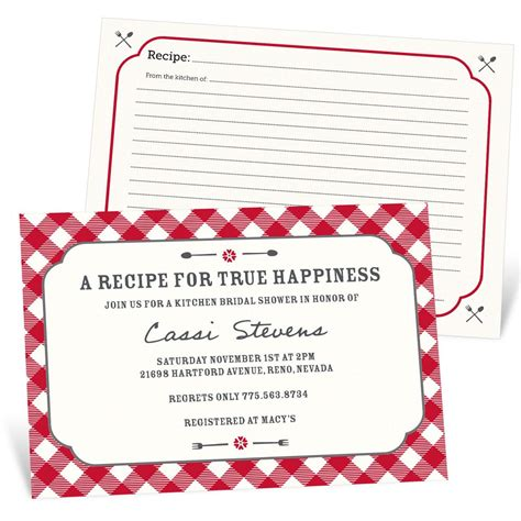 bridal shower recipe invitations gingham recipe bridal shower invitations pear tree