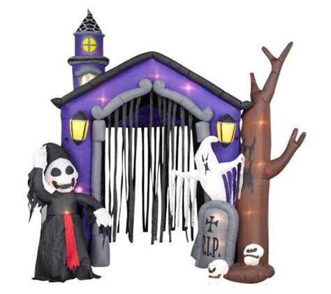 inflatable haunted house 10 airblown inflatable haunted house w light show and reaper qvc com