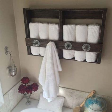 towel rack ideas for bathroom 27 beautiful diy bathroom pallet projects for a rustic
