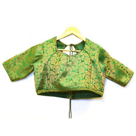 Floral Brocade Blouse green and golden floral silk brocade blouse 30084