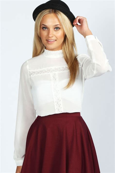 High Neck Blouse In by Boohoo Layla Sleeve Lace Insert High Neck Blouse Ebay