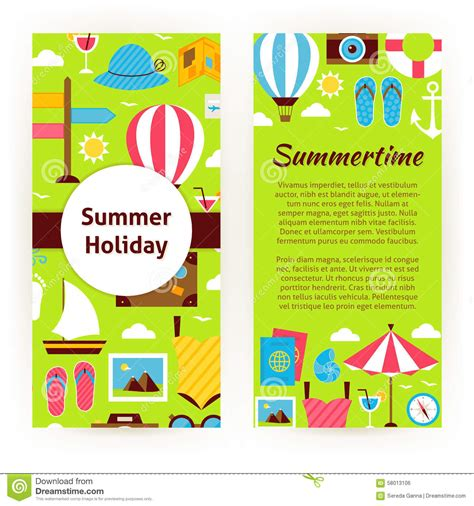 Vector Flyer Template Of Flat Design Summer Holiday Concept Stock Vector Image 58013106 Summer C Brochure Template Free