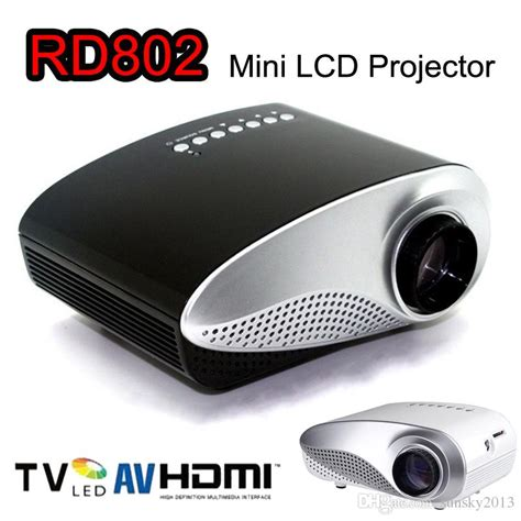 Portable Mini Led Projector Gm60hd mini portable projector 1080p hd led lcd projectors rd802