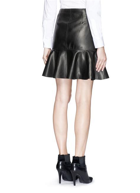 mcqueen asymmetric ruffle hem leather skirt in